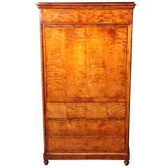 Antique English Burl Wood Biedermeier Abattant, Drop Front Secretary Desk 19th C