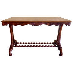 Antique English Burled Walnut Library Table