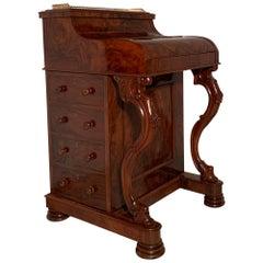 Antique English Burled Walnut Mechanical Davenport Desk, circa 1870