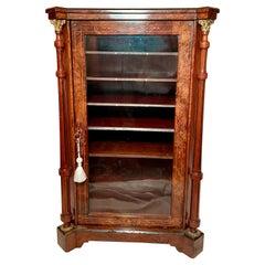 Antique English Burled Walnut Sheet Music Cabinet, Circa 1870