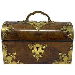 Antique English Burled Walnut with Brass Trim Travel Scent Box, circa 1880