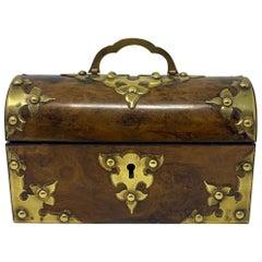 Antique English Burled Walnut with Brass Trim Travel Scent Box, circa 1880