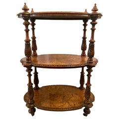 Antique English Burled Walnut with Inlay 3-Tier Étagère on Casters, circa 1860
