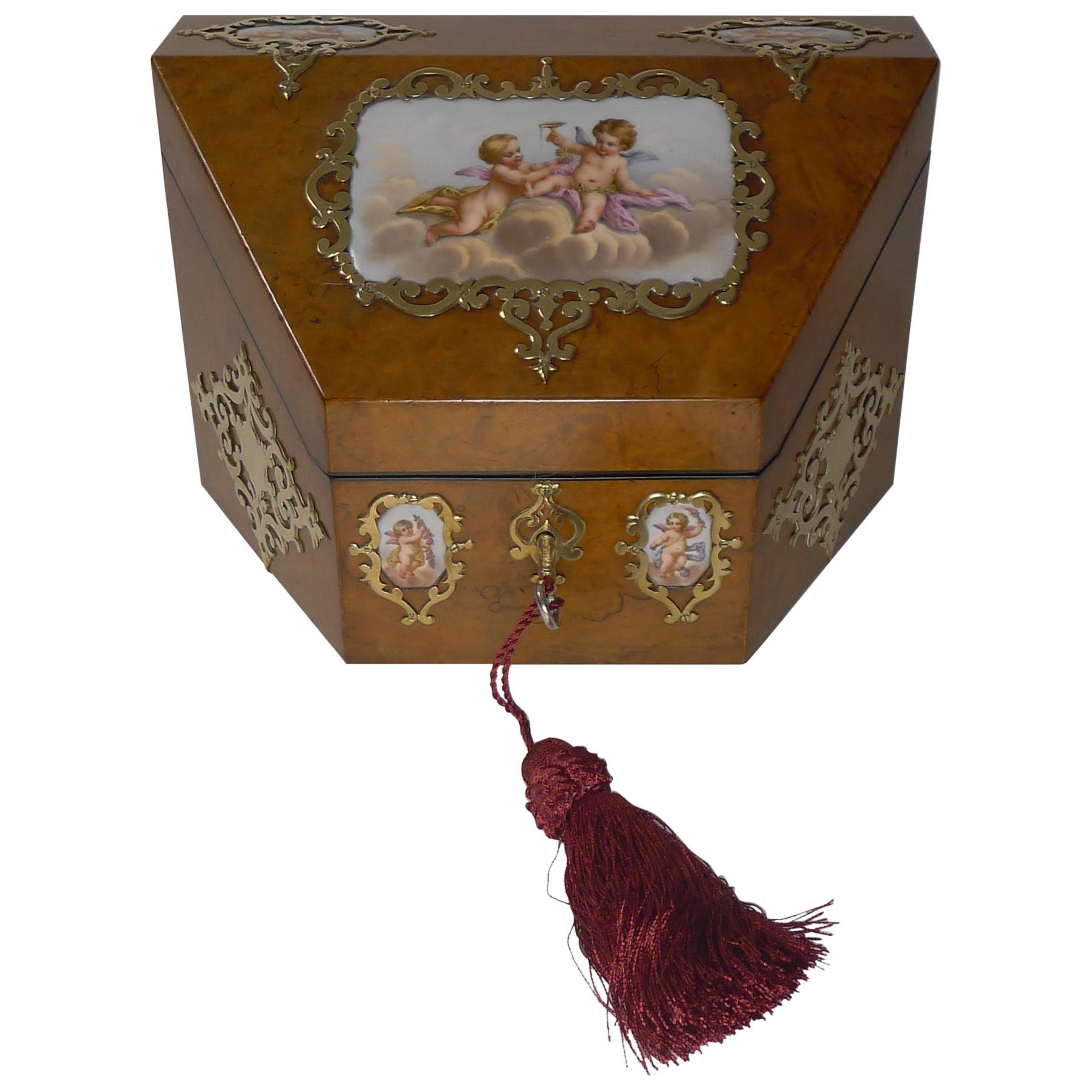 Antique English Burr Walnut & Hand Painted Porcelain Stationery Box, circa 1850