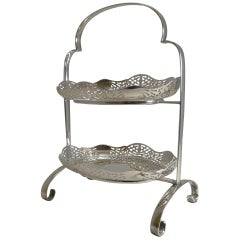 Antique English Cake Stand in Silver Plate, circa 1900
