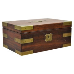 Antique English Campaign Style Mahogany Brass Military Writing Jewelry Desk Box