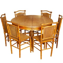 Antique English Carved Bamboo Table and Six Chairs
