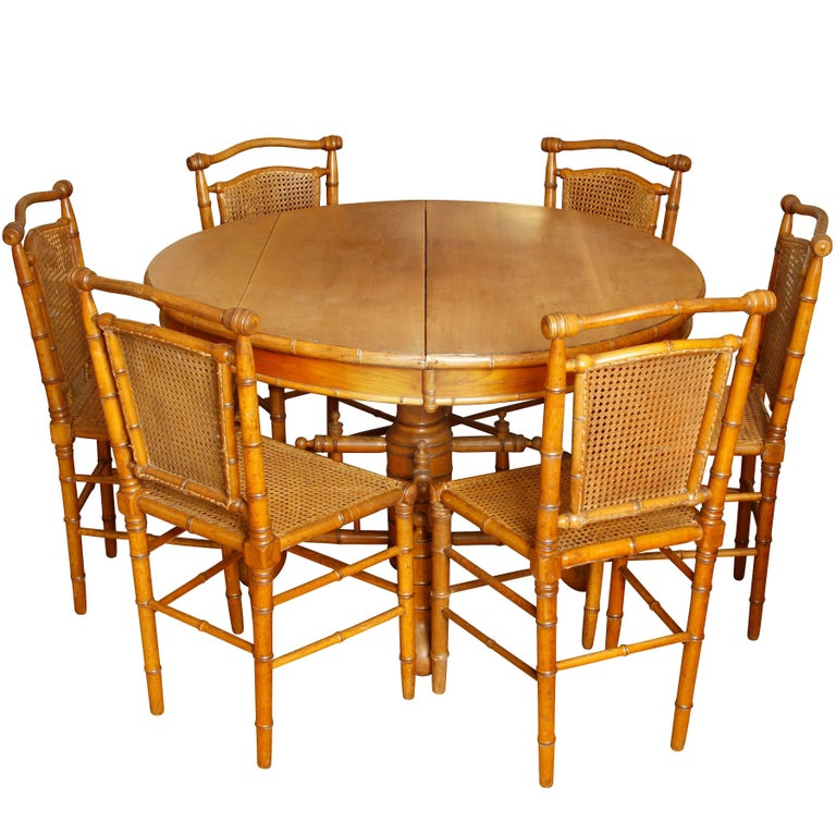 Antique English Carved Bamboo Table and Six Chairs For Sale