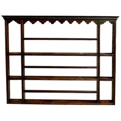Antique English Carved Dark Oak Plate Platter Wall Rack Kitchen Display Shelf