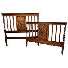 Antique English Carved Oak Barley Twist Bed Headboard Footboard Arts & Crafts