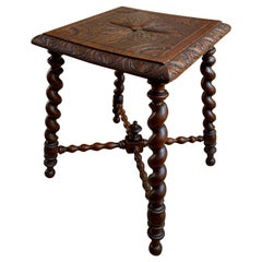 Antique English Carved Oak Barley Twist Bench Stool Kettle Stand Table