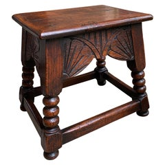 Antique English Carved Oak Bench Stool End Table Jacobean Joint Style Stand