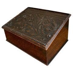 Antique English Carved Oak Bible Box Writing Slope Desk Book Slant Top Lectern