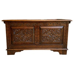 Antique English Carved Oak Blanket Box Trunk Chest Toy Box Jacobean Coffee Table