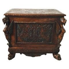 Antique English Carved Oak Cellarette with Gargoyles and Original Insert