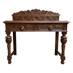 Antique English Carved Oak Hall Sofa Foyer Table Renaissance Style Lion Gothic