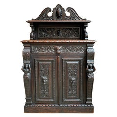 Antique English Carved Oak Renaissance Wine Cabinet Bookcase Sideboard Small