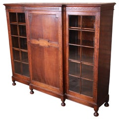 Antique English Carved Oak Triple Bookcase, circa 1900