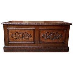 Antique English Carved Oak Trunk Chest Coffee Table Blanket Box