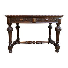 Antique English Carved Oak Writing Desk Sofa Table Jacobean William Mary