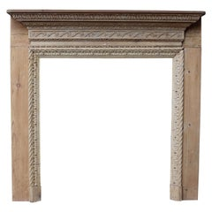 Antique English Carved Pine Fire Surround