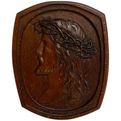 Antique English Carved Pollard Oak Plaque of Jesus with the Crown of Thorns