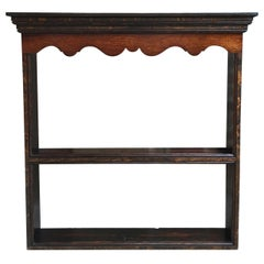 Antique English Carved Tiger Oak Plate Platter Wall Rack Display Shelf Kitchen