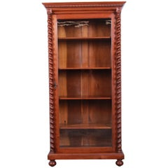 Antique English Carved Walnut Barley Twist Glass Front Bookcase, circa 1900