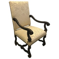 Antique English Carved Walnut Throne Lolling Chair with Brass Nailhead Trim