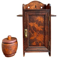 Antique English Carved Wood Pyrography Pipe Smoke Cabinet Game Box Humidor