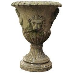 Antique English Carved Yorkstone Urn