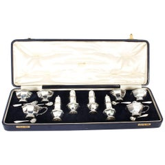 Antique English Cased Sterling Silver 14-Piece Condiment Set London, 1938