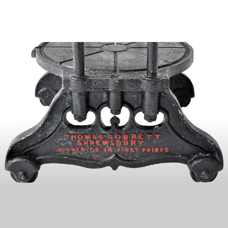 Antique English Cast Iron Cheese Press by Thomas Corbett of Shrewsbury, 1880 For Sale 5