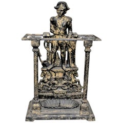 Antique English Cast Iron Figural Admiral Lord Nelson Umbrella or Stick Stand