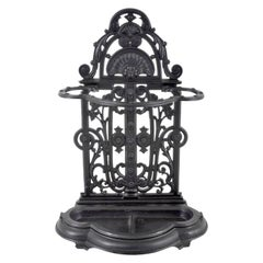 Antique English Cast Iron Umbrella Hall-Stick-Stand by Coalbrookdale, Dated 1854