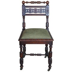 Antique English Charles II Style Carved Oak Vanity Desk Side Chair Jacobean