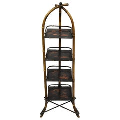 Antique English Charred Bamboo Victorian 4-Tier Muffin Dessert Pastry Stand