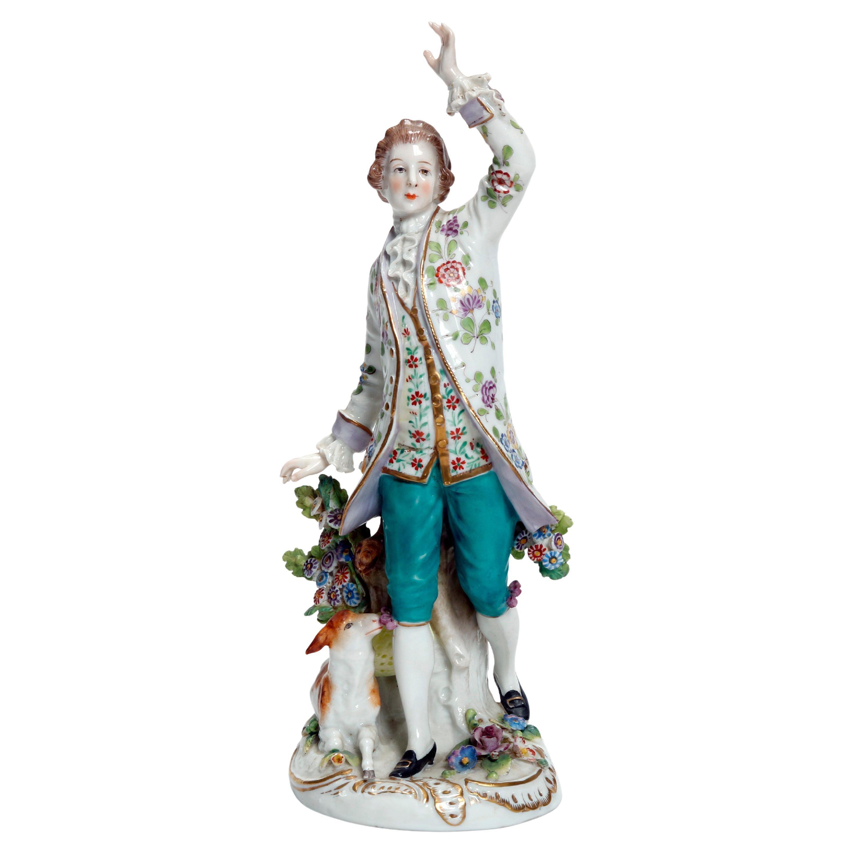Antique English Chelsea Hand Painted & Gilt Porcelain Figure, Boy & Sheep 19th C