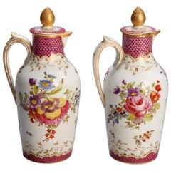 Antique English Chelsea Hand Painted and Gilt Coalport Chocolate Pots circa 1820