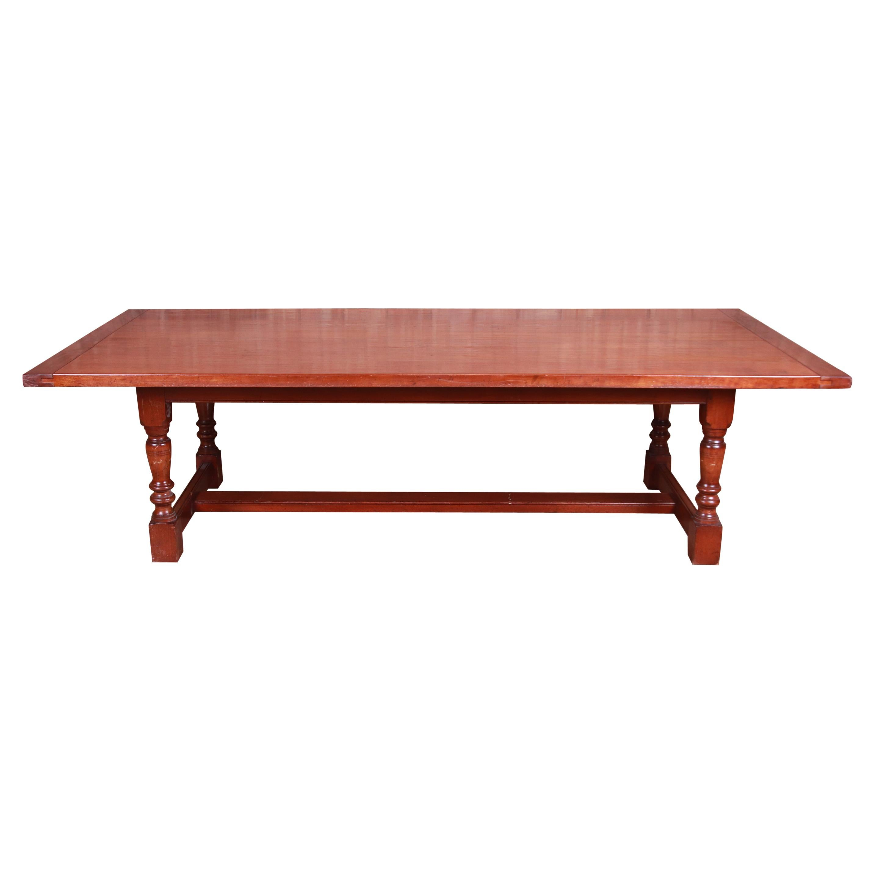 Antique English Cherry Wood Farmhouse Refectory Dining Table, Circa 1890
