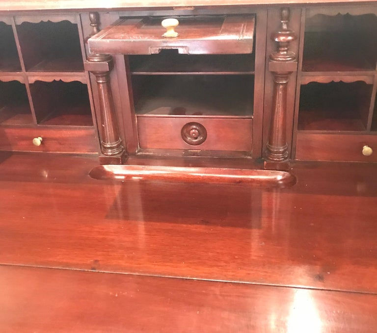 Antique English Chippendale Mahogany Slant Front Desk For Sale 2