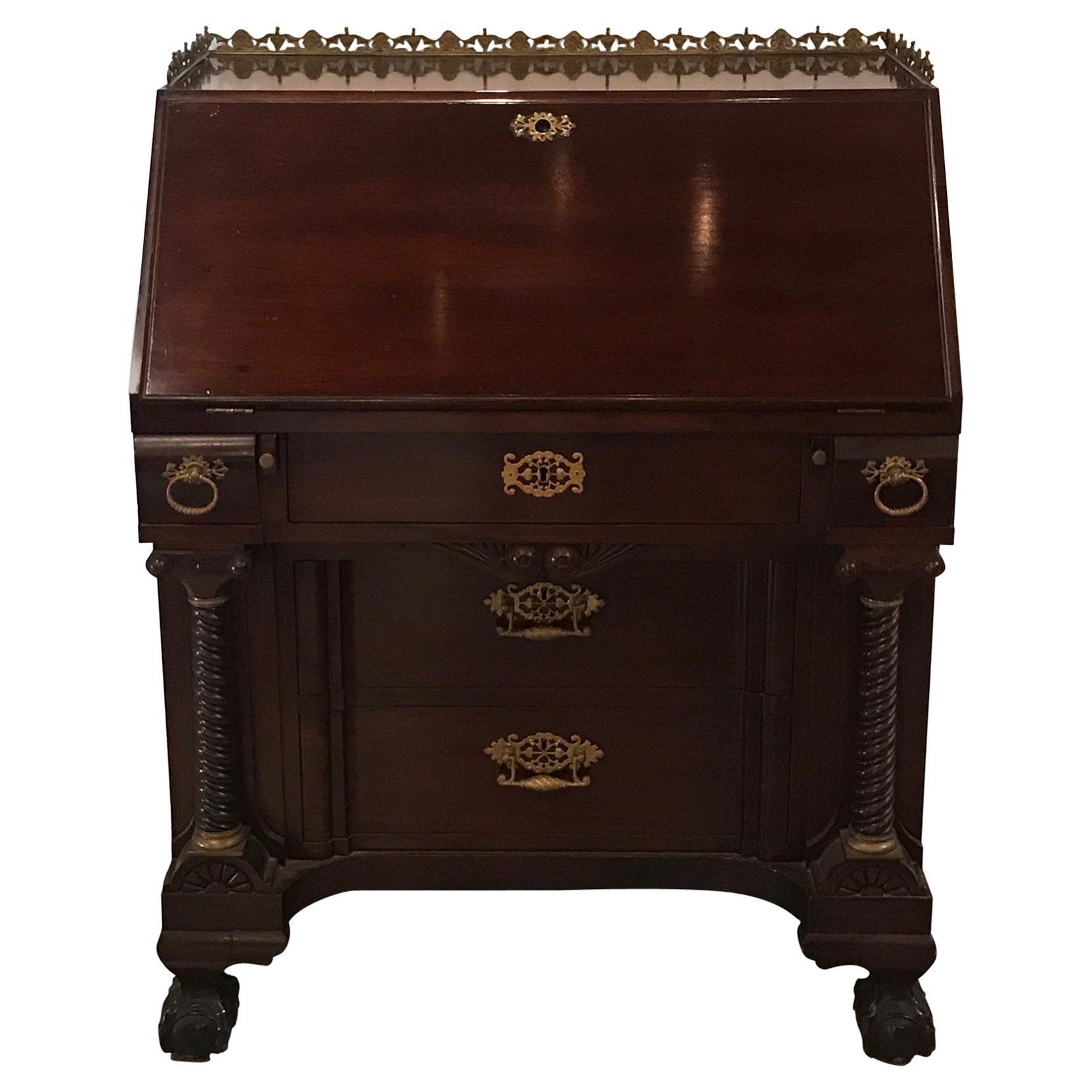 Antique English Chippendale Mahogany Slant Front Desk