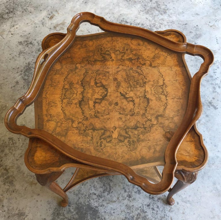 Antique English Chippendale Tea Table with Tray For Sale 1