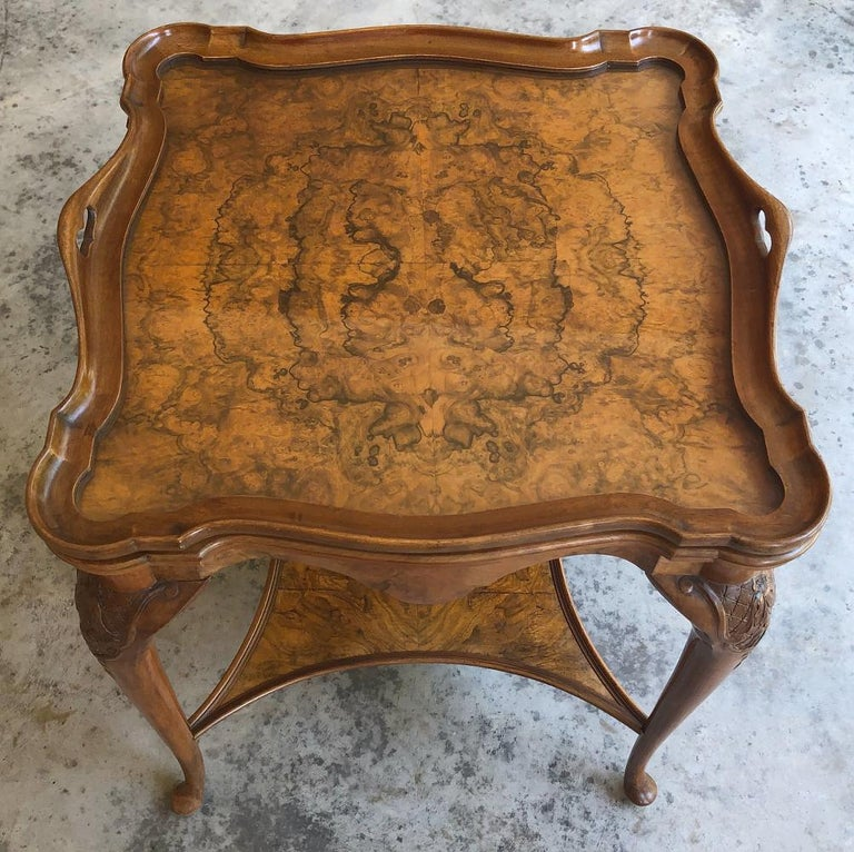 Antique English Chippendale Tea Table with Tray For Sale 2