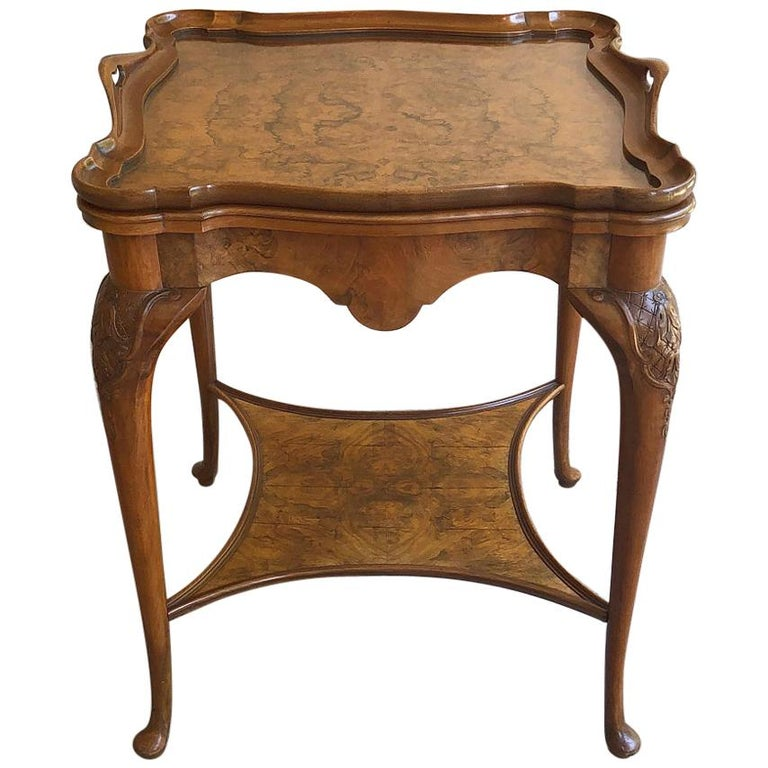 Antique English Chippendale Tea Table with Tray For Sale