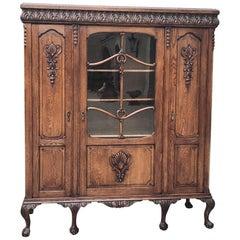 Antique English Chippendale Triple Oak Bookcase