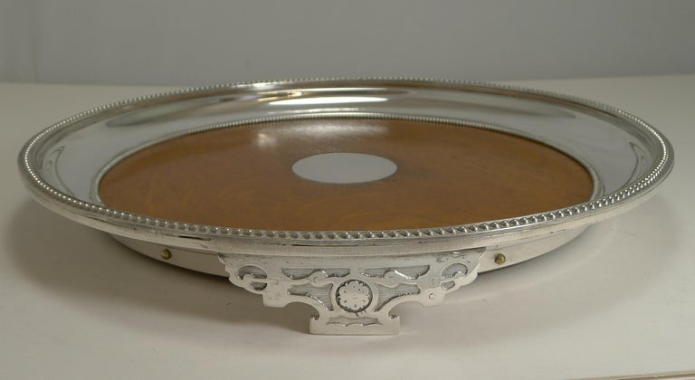 Late Victorian Antique English Circular Silver Plate and Oak Serving Tray, Registered 1871 For Sale