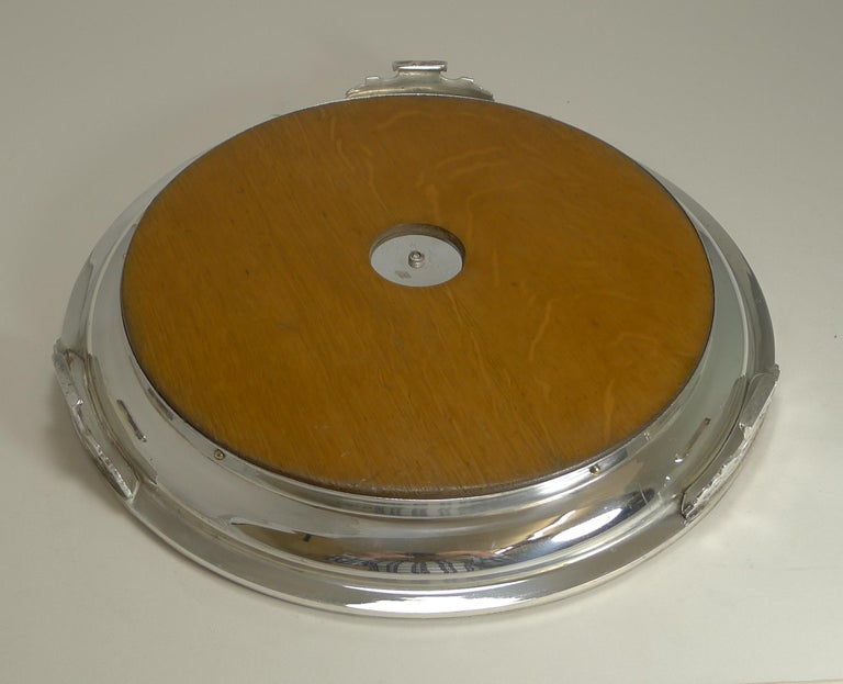 Late 19th Century Antique English Circular Silver Plate and Oak Serving Tray, Registered 1871 For Sale