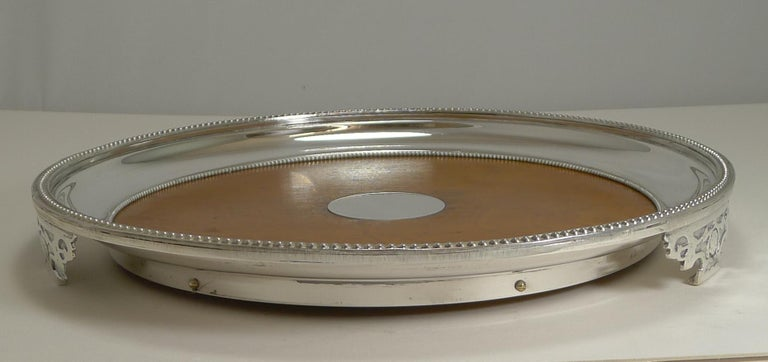 Antique English Circular Silver Plate and Oak Serving Tray, Registered 1871 For Sale 2