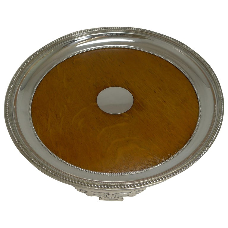 Antique English Circular Silver Plate and Oak Serving Tray, Registered 1871 For Sale